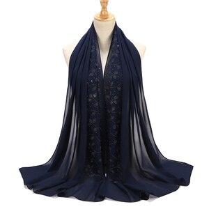 Image 5 - 10 шт./лот женский шифоновый шарф с пузырьками, Кристальный шарф, хиджаб, шали, накидка, однотонный мусульманский хиджаб, шарф, 20 видов цветов