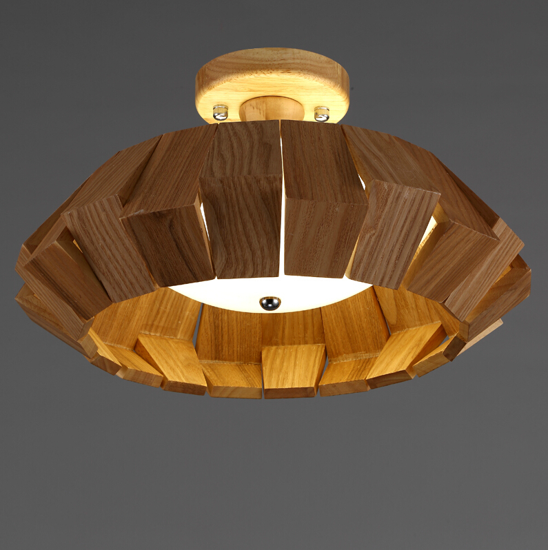 New chinese style dia 40cm 50cm 65cm living room led wood for Ceiling lamp wood