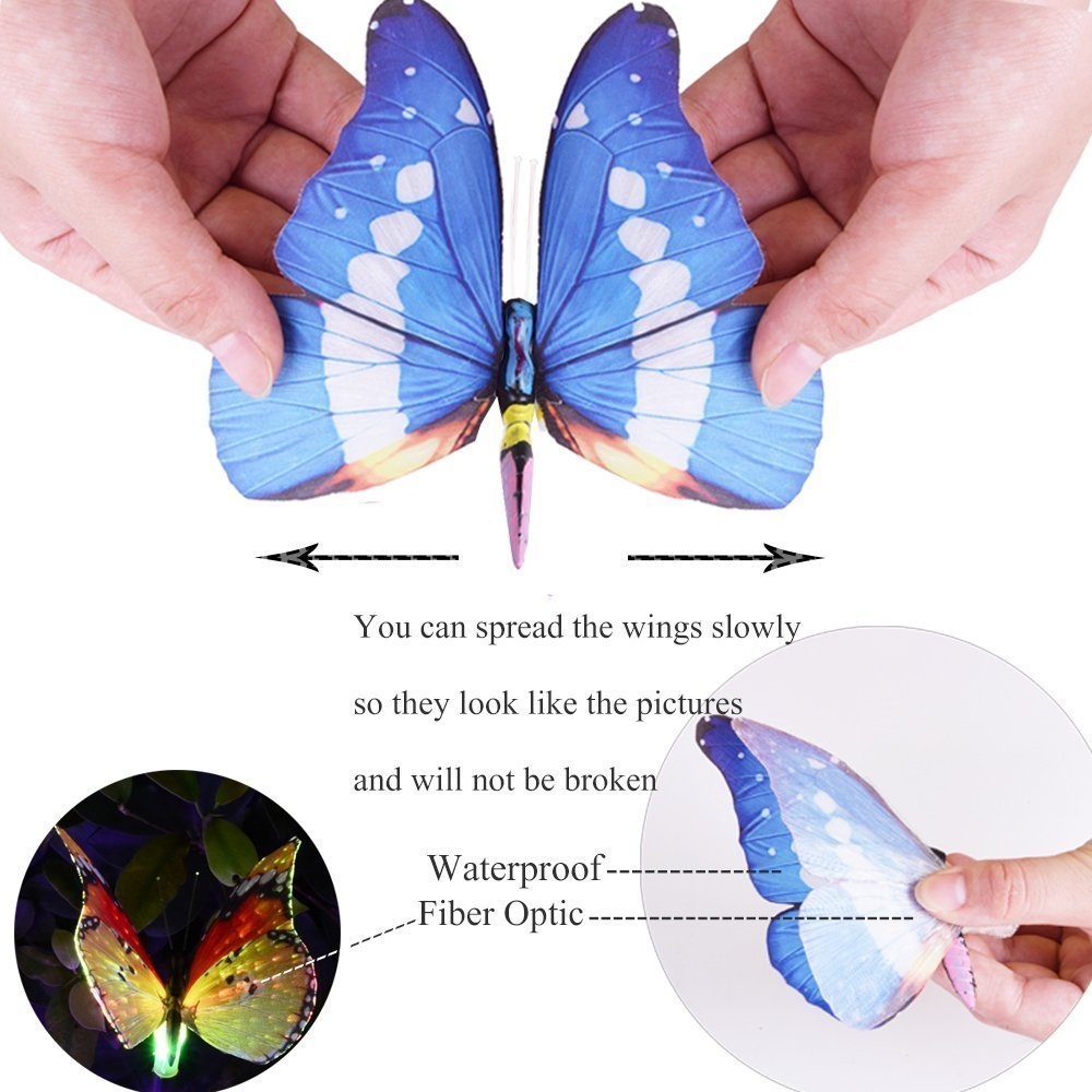 3 Pack Waterproof Solar Powered Butterfly Lights Colorful Landscape Lighting for Fence,Lawn,Garden Christmas Decorative Light
