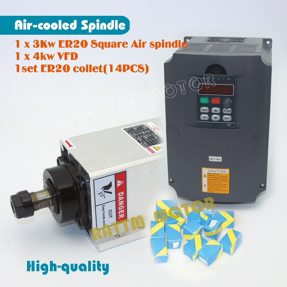 EU Delivery Quanlity Square 3kw ER20 Air cooled spindle motor runout off 0 01mm 4 bearing