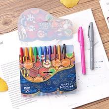 JIANWU 6 sztuk lub 12 sztuk/zestaw japonia Pentel pędzelek do zdobień art marker kolor journal curlicue pen materiały malarskie