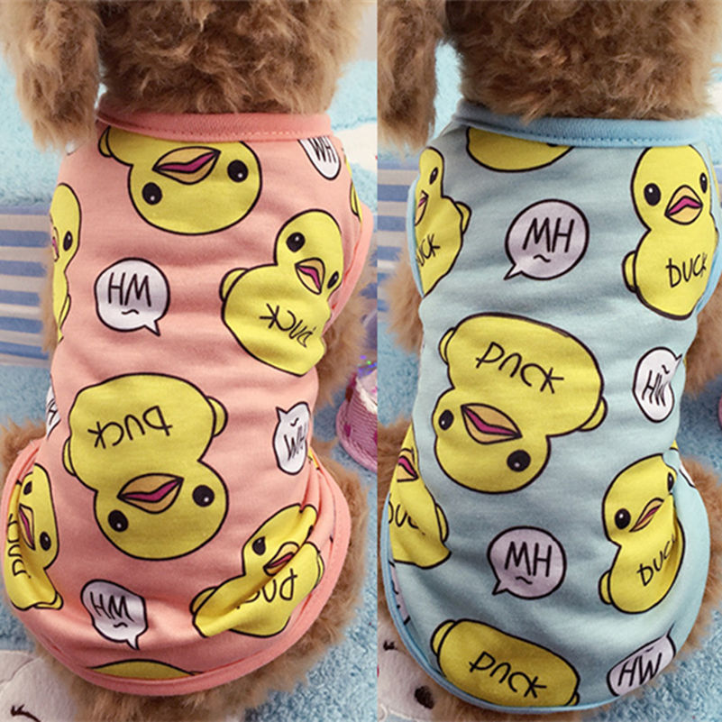 Pet Dog Clothes Puppy Vest Spring T-shirt Shirts Duck Coats Pajamas Cats Cartoon