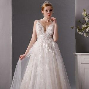 Image 4 - SL 6077 derin boyun çizgisi gerçek fiyat dantel plaj düğün elbisesi 2019 sposa uzun tren tül vestido boho düğün gelin kıyafeti artı boyutu