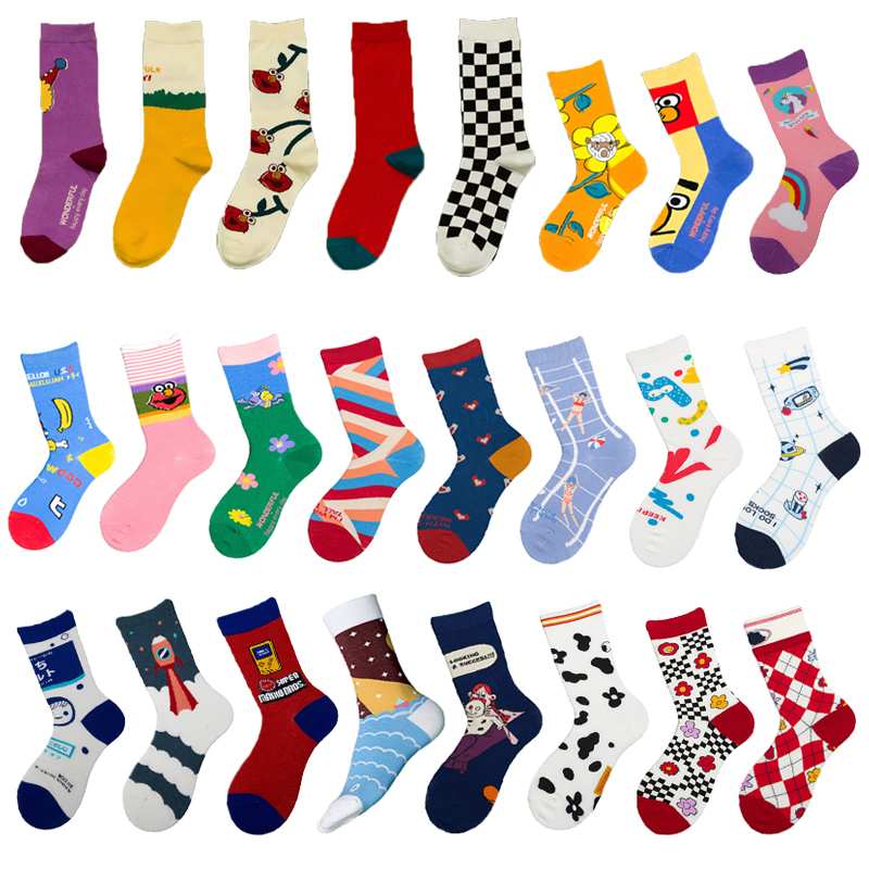 Unisex Fashion Women Socks Harajuku Colorful Cotton Normal Socks Men 1 Pair