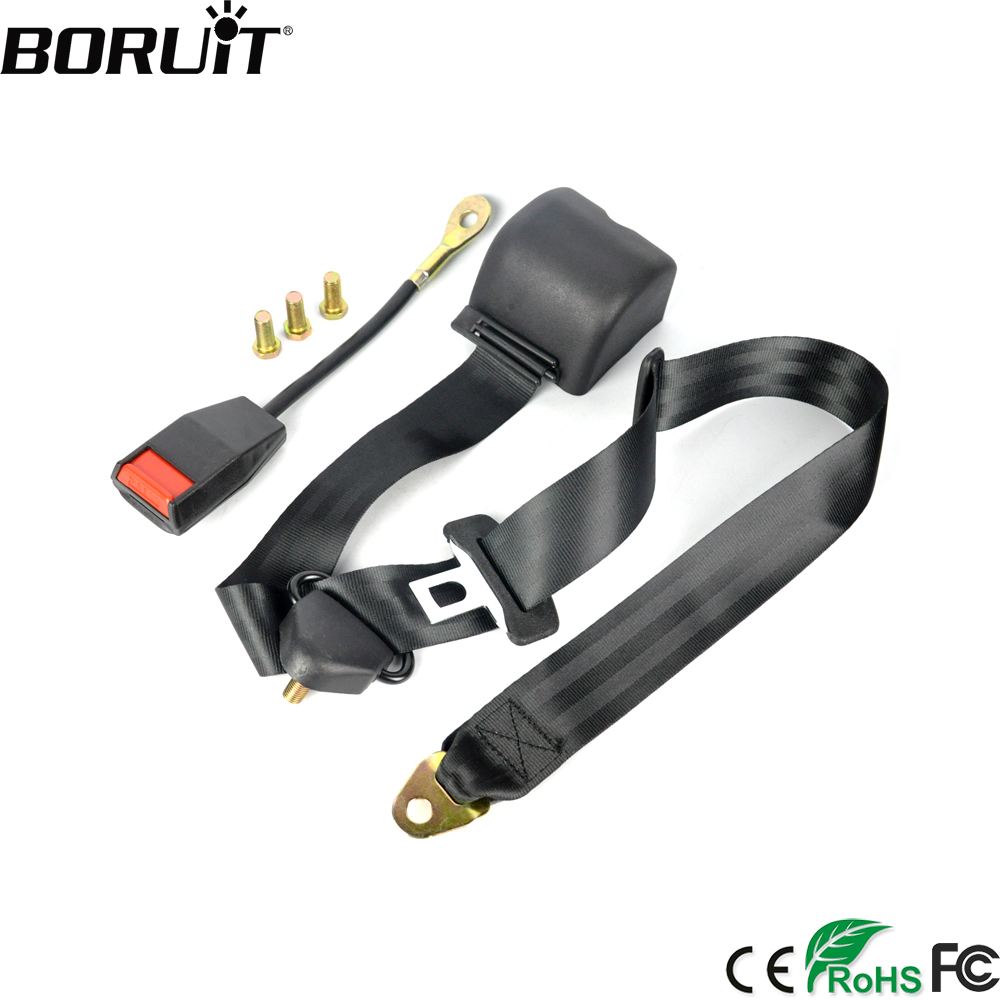 3 Point Car Front Seat Belt Buckle Kit Automatic Retractable Safety Straps Well