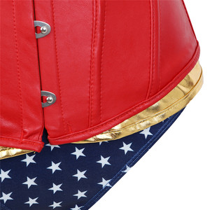 Image 5 - Womens Faux Leather Corset Bustier Wonder Woman Costume With Blue Short Cosplay Superhero Costume Sexy Plus Size Costumes Red