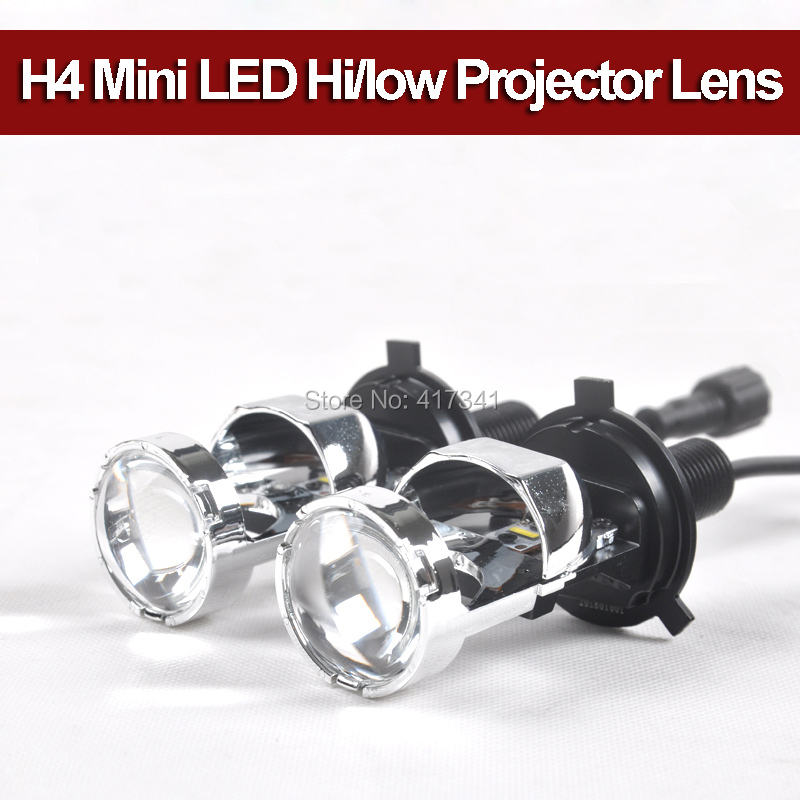 Free Shipping New H4 Bi LED Mini Projector Lens with Hi/Low 5500K for Car Headlight Upgrading 12W*2 5500K