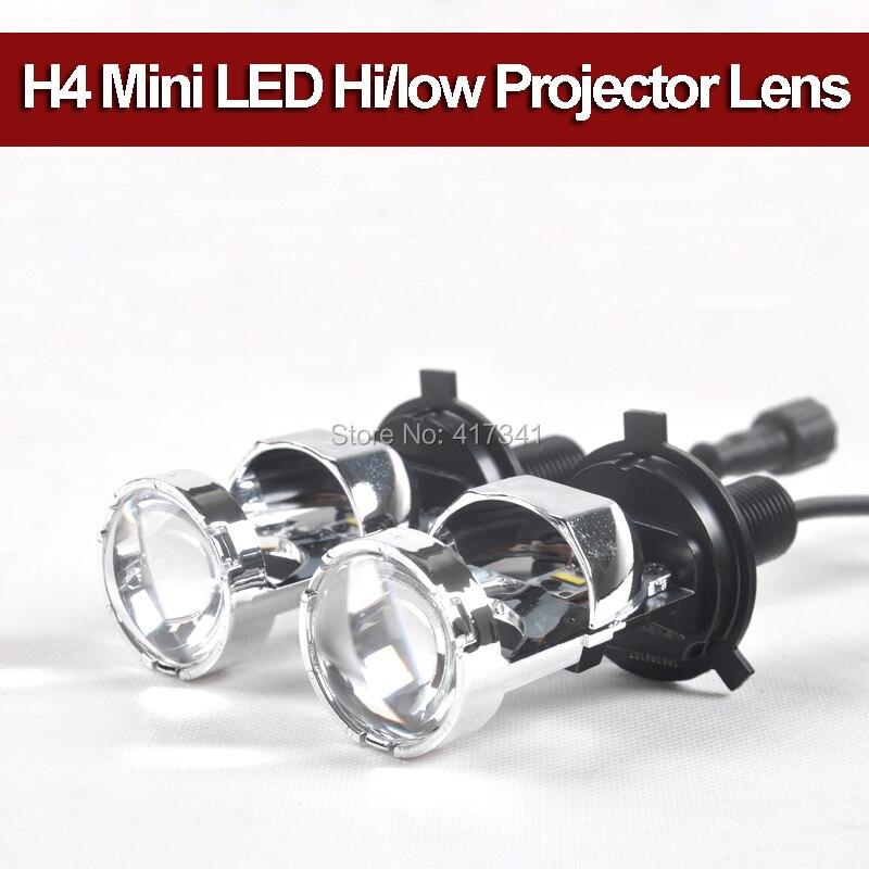 Livraison gratuite nouvelle lentille H4 Bi mini projecteur LED avec salut/bas 5500 K pour la mise à niveau des phares de voiture 12 W * 2 5500 K LHD/RHD disponible
