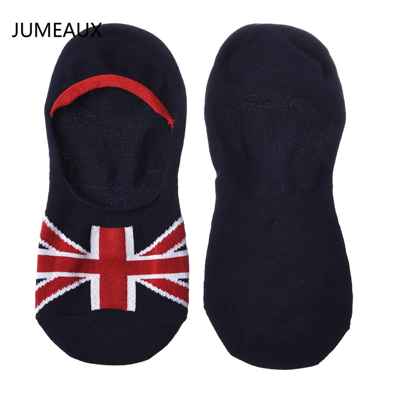 JUMEAUX 2017 Summer Fashion Men's Socks Casual Flags Pattern Printed Thin Mens Cotton Socks