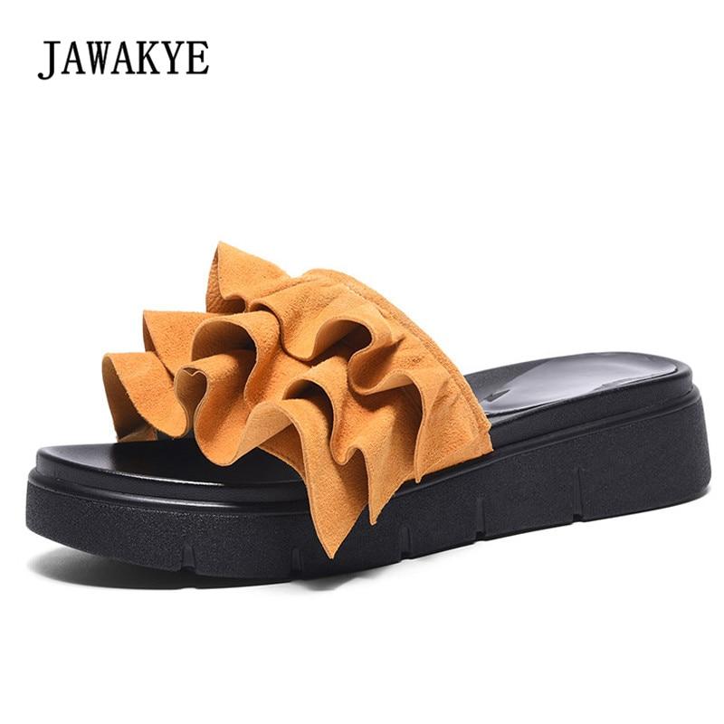 2018 Chic Ruffles Design Beach Slippers Women Peep Toe Thick Bottom Sandals Woman Fashion Casual Shoes Summer For Women