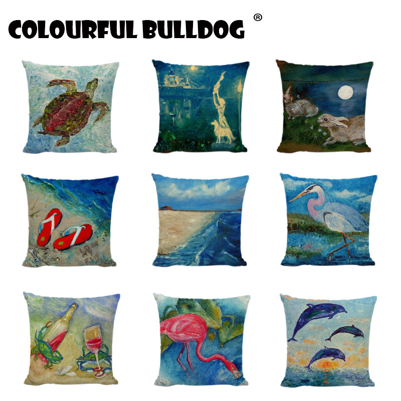 Fashion Nordic Style Blue Marine Biology Cushion Cover Sea Whale Lobster Home Pillowcases Linen Cotton Pillows Covers Decoration