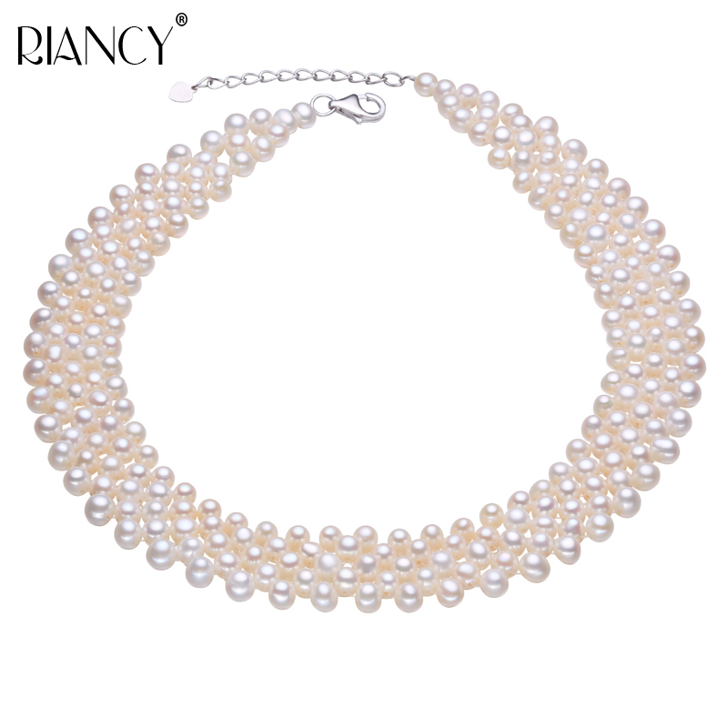 Natural freshwater pearl choker necklace muiltlaye pearl vintage necklace for women Small Pearl clavicle necklace