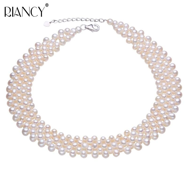 Collier ras du cou en perles d'eau douce naturelles collier vintage en perles muiltlaye pour femmes petit collier clavicule en perles-in Colliers from Bijoux et Accessoires    1