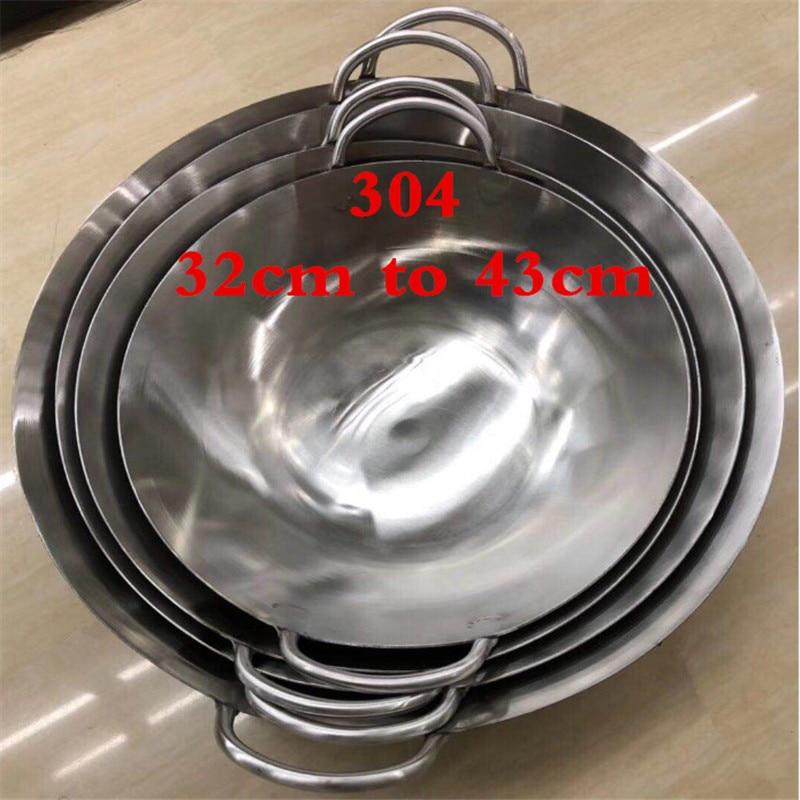 304 الفولاذ المقاوم للصدأ 1.8 مللي متر سميكة عالية الجودة الصينية اليدوية ووك التقليدية غير عصا الصدأ الغاز ووك طباخ عموم الطبخ وعاء-في مقالٍ من المنزل والحديقة على  مجموعة 1