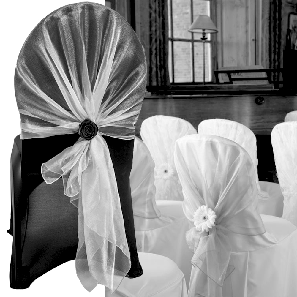 White chair covers with white sash - Hight Quality White Chair Cover Hood Wrap Tie Back Sash Bow For Wedding Event Party Home Banquet Decoration 10pcs Free Shipping In Party Diy Decorations