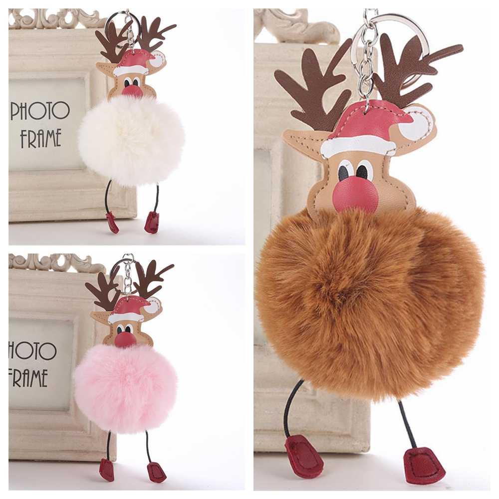 Nova chegada natal veados pingente chaveiro fofo pompom pele de pelúcia boneca chaveiro bolsa chaveiro moda bonito jóias presente natal