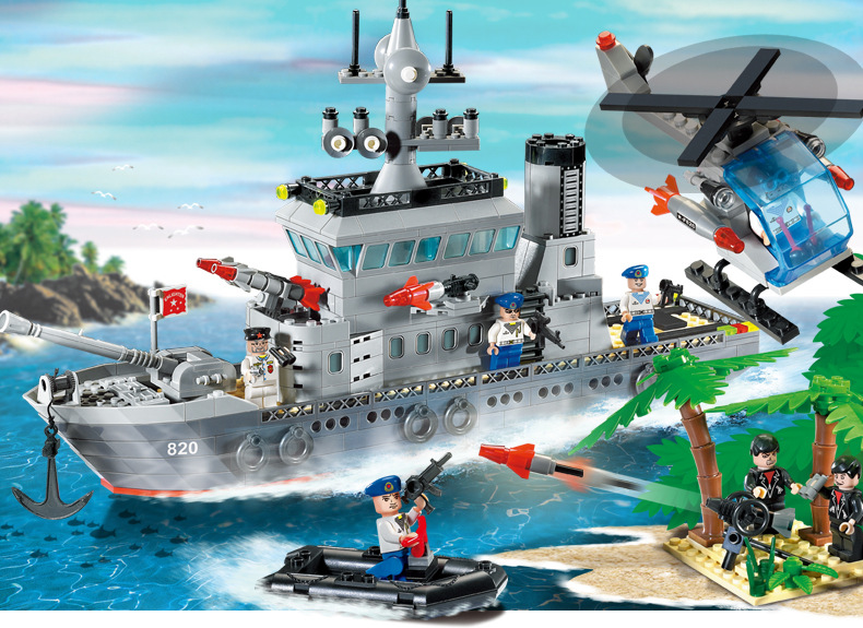 614pcs Building Blocks Frigate Military Series Warship DIY Children Birthday Present Educational Intelligence Creative Plaything enlighten building blocks navy frigate ship assembling building blocks military series blocks girls