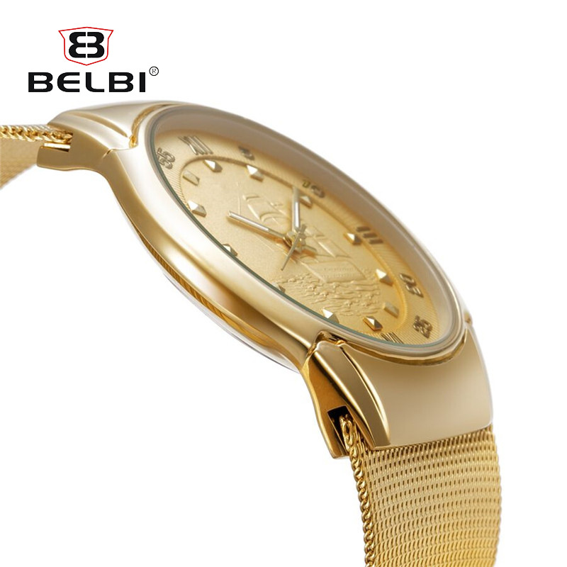 BELBI Ultra thin Men Business Watch Male Gold Metal Bracelet Clock Mens Japan Quartz Watches Best brand Luxury Men Wristwatch original top luxury gold watchband sliver case metal bracelet women male dress business men s watch relojes hombre 2017 clock