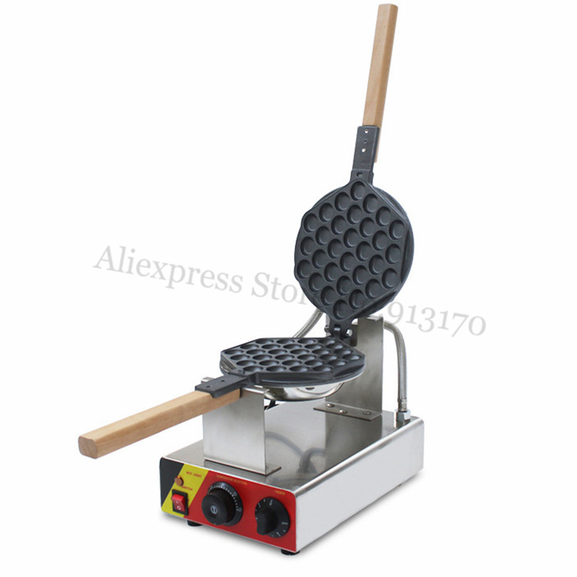 Stainless Steel QQ Egg Waffle Baker Electric Egg Puff Waffle Machine 1400W with Temperature Controller TimerStainless Steel QQ Egg Waffle Baker Electric Egg Puff Waffle Machine 1400W with Temperature Controller Timer