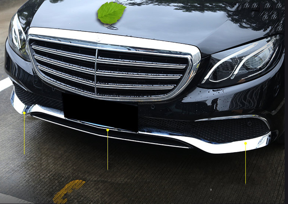 MONTFORD ABS Chrome Front Bottom Racing Grille Grill Strip Cover Trims For Mercedes E Class Benz W213 E200 E300 E400 2016 2017 for hyundai ix35 2010 2011 2012 abs chrome front lower grille around center grill grilles cover racing grills styling trims 1pcs