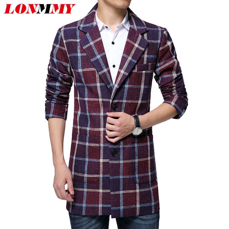 LONMMY M-5XL 2017 Winter Long trench coat men Plaid Windbreaker Woolen Slim fit Casual Mens trench coat Lapel collar