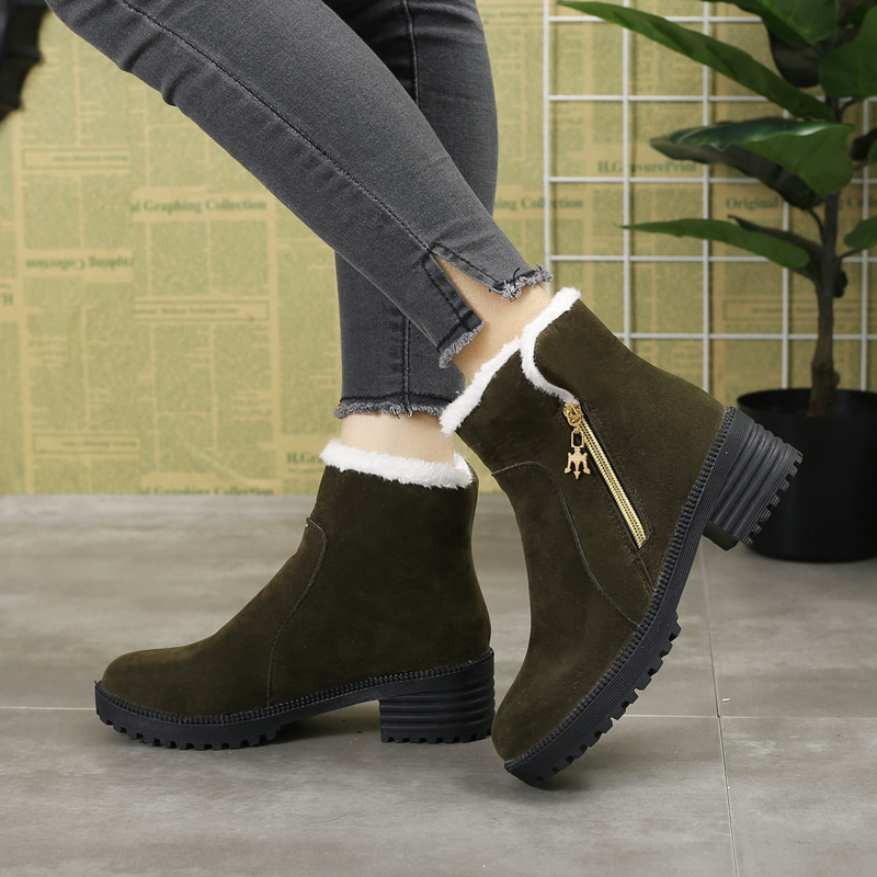 Negro Cálidas Gamuza Invierno Zapatos verde 2018 Piel Nieve Mujer V375 Militar Tobillo Para gris De Botas p10qpw