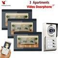 7 дюймовые часы с записью времени проводной Wifi 3 квартиры/семьи видео домофон система RFID IR-CUT HD 1000TVL камера Поддержка 16 ГБ TF Карта