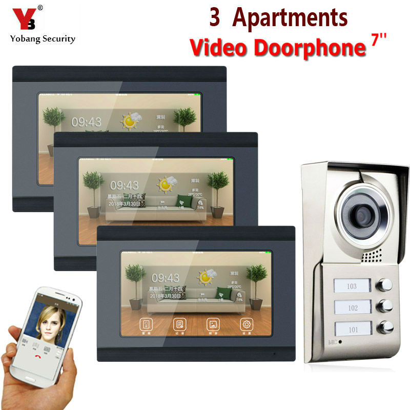 7inch Record Wired Wifi 3 Apartment/Family Video Door Phone Intercom System RFID IR-CUT HD 1000TVL Camera Support 16GB TF card7inch Record Wired Wifi 3 Apartment/Family Video Door Phone Intercom System RFID IR-CUT HD 1000TVL Camera Support 16GB TF card