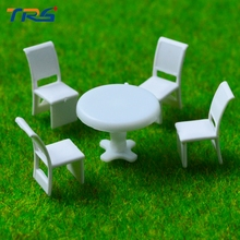 Teraysun 20sets Scale Model 1:100 Round Dining Table & four Chairs Scene Set Miniature Furniture Decoration