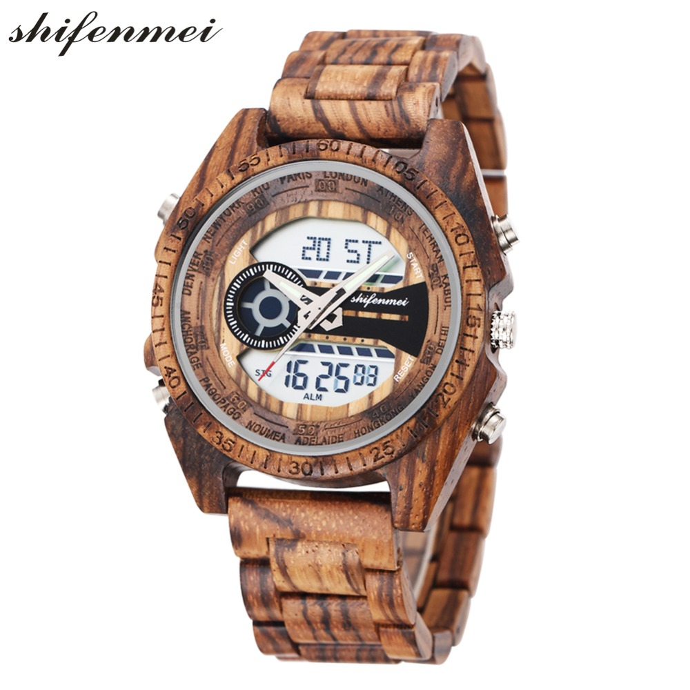 top luxury brand Shifenmei 2139 Antique Mens Zebra and Ebony Wood Watches with Double Display Business Watch in Wooden digital quartz watch drop shipping 2019 (2)