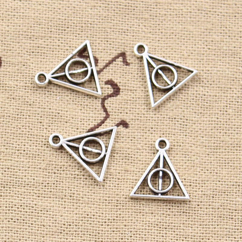 30pcs Charms deathly hallows 13x12mm Antique pendant fit,Vintage Tibetan Silver Bronze,DIY for bracelet necklace