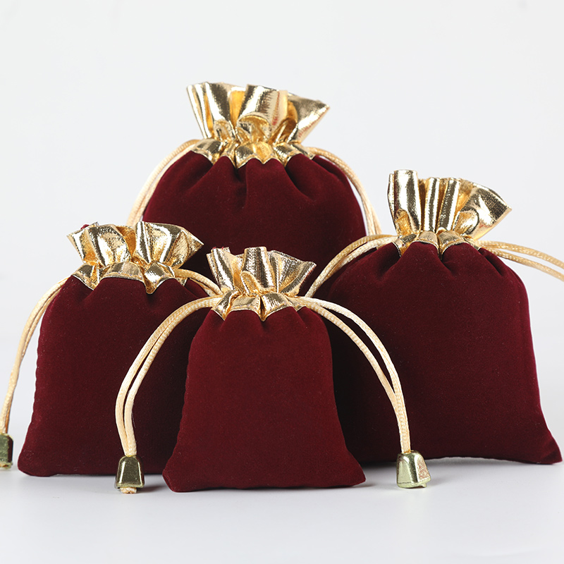 5pcs/lot Vintage Velvet Package Bags Wine Red Organza Drawstring Gift Bags Wedding Jewelry Packaging Pouches