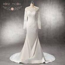 Rose Moda Stunning Sleeves Mermaid Wedding Dress Train