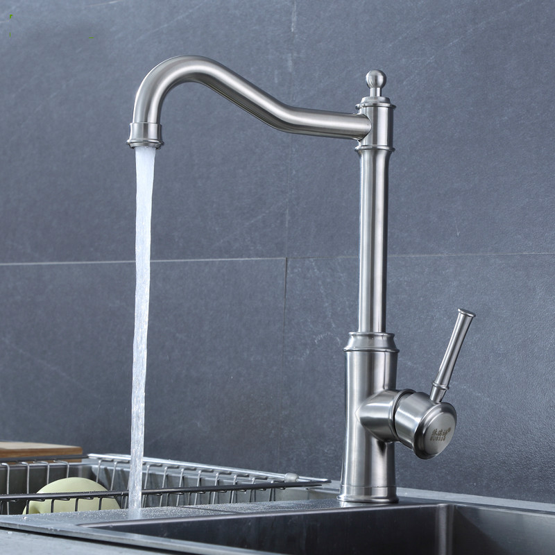 Kitchen dish basin cold and hot faucet lead-free 304 stainless steel faucet sink washbasin faucet LU5073 super high quality 304 stainless steel hot and cold no lead brushed basin safe sink kitchen faucet with german technology