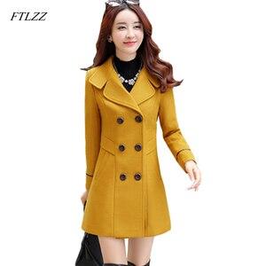 Image 5 - FTLZZ abrigo largo y cálido de mezcla de lana para mujer, chaqueta de talla grande ajustada con solapa, abrigo de lana de cachemira para Otoño e Invierno