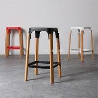 Nordic стиль современный дизайн твердые деревянный барный табурет твердые деревянные ноги PP сиденье дома Обеденный кофе бар барный стул спинк