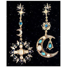 The New Arrival Multicolor Luxury Opal Jewelry Crystal Earrings Asymmetric Shape Of The Sun And Moon