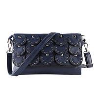 2017 New Fashion Women Handbag Rivet Shoulder Bag Small Cross Body Black Envelope Messenger Clutch Handbag Red Soft-leather-bags