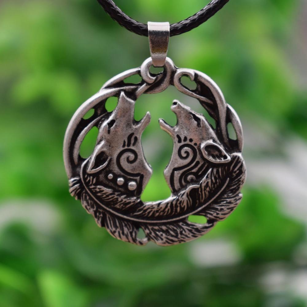 SanLan 1 stücke Valknut Odin Viking Antike Silber Wolf Paar Anhänger celtico Halskette Nordischen Vintage