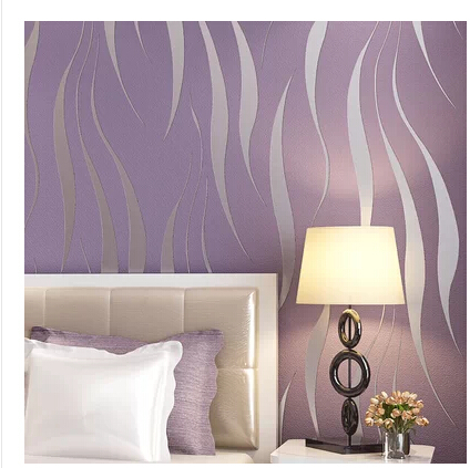 ФОТО Grey Stripe Wave Wallpaper Purple Non-woven Waterproof Wave Wall Paper Living Room TV Background papel pared 3D