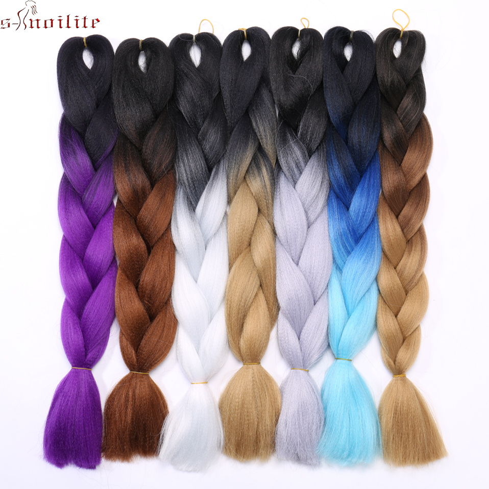 S-noilite 24 Jumbo Braids Synthetic Crochet Hair Extension For Hip-hop Perform Ombre Kanekalon Braiding Hair Pink Blue Purple Reliable Performance Hair Extensions & Wigs Jumbo Braids