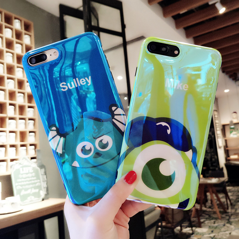 Cartoon Sully Mike Blue Ray Light Iphone X 7 8 Plus XR XS MAX Soft Silicone Cover For Iphone 6S 6 XS Cute Capa