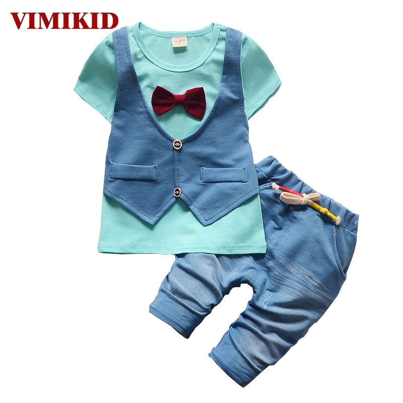VIMIKID 2017 Summer spring Cotton Baby Boys Clothing Sets Children vest fake two jacket tops+ Shorts Kids formal Clothes Suits