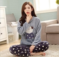 Round Neck Cusual Loose Winter coral velvet pajamas women set Bear Warm Soft Woman Clothes Flannel home suits pajamas