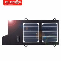 ELEGEEK 7W Portable Solar Panel Charger Foldable Solar Cell Battery Charger USB Output for iPhone Samsung PSP 5V Camera etc