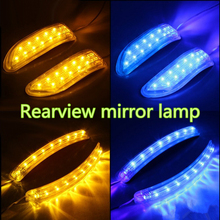Car styling 2 Pcs 9 13 LED Rearview Mirror Lights Blue Amber Car Rear View Mirror