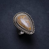 Natural Chrysanthemum Jasper Handmade Unique 925 Sterling Silver Ring, US size 6 X3010