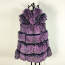 New Style Purple Sleeveless Coat Real Genuine Natural Fox Fur Long Coats Jacket for Women Winter Vest Gilet