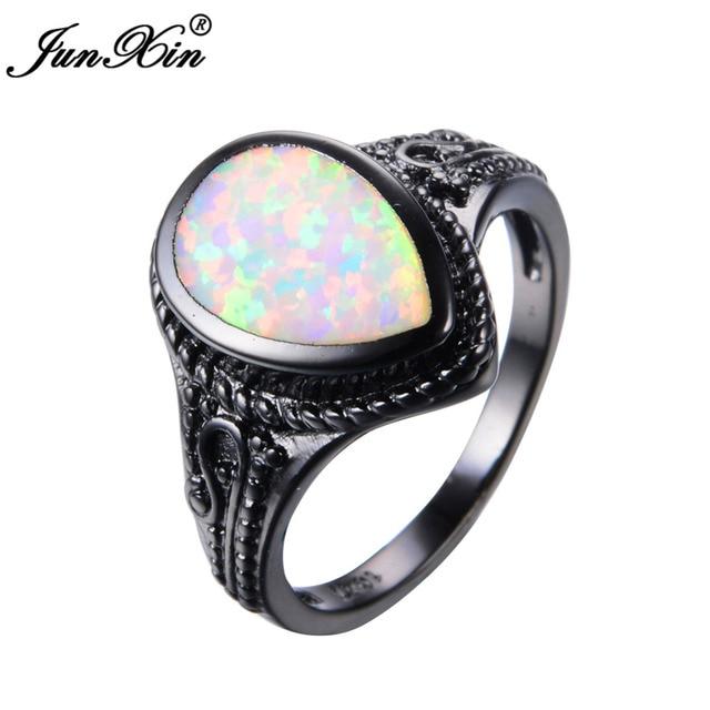 JUNXIN Big Water Drop Design White Opal Ring Vintage Black Gold