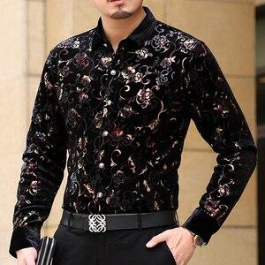 Image 5 - Mu יואן יאנג 2020 גברים אופנה פלנל חולצות רשמיות שרוול ארוך שחור חולצה מותג mens בגדי גדול גודל 3XL 50% off рубашка